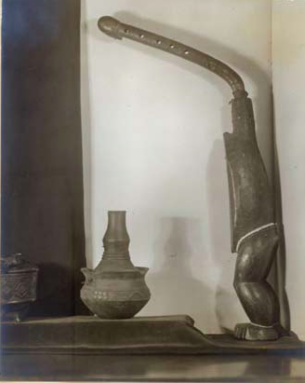Marjorie Griffiths, Untitled (Central African Ngbaka bow-harp and Kongo clay vessel), c.1935.png