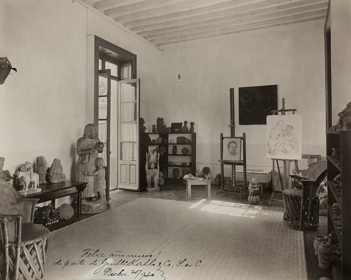 the-studio-of-fridas-husband-painter-and-muralist-diego-rivera-at-the-casa-azul-in-1930