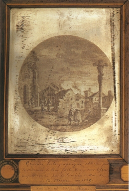 a-reproduction-of-an-engraving-entitled-%22landscape-with-figures%22-heliograph-on-a-zinc-plate-by-nicephore-niepce-1825