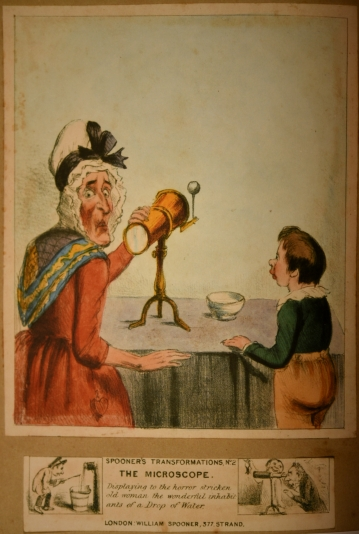 Spooners Transformations No.2 The Microscope. Colour lithograph, England c.1830