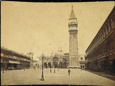 Place St. Marc avec l'église. Venise. Square and church of St. Mark. Venice. ca. 1875 albumen print with applied color (Megalethoscope slide)