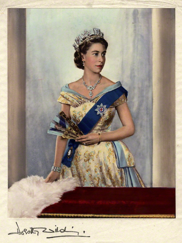 NPG x44639; Queen Elizabeth II by Dorothy Wilding, hand-coloured by  Beatrice Johnson