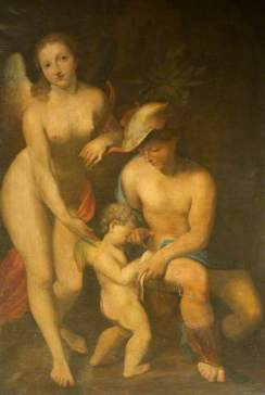 Correggio (c.1489–1534) (after) Venus with Mercury and Cupid ('The School of Love') National Trust, Lacock Abbey, Fox Talbot Museum and Village