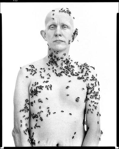 """Richard Avedon, """"Ronald Fischer, Beekeeper"""" Davis, CA, May 9, 1981"""
