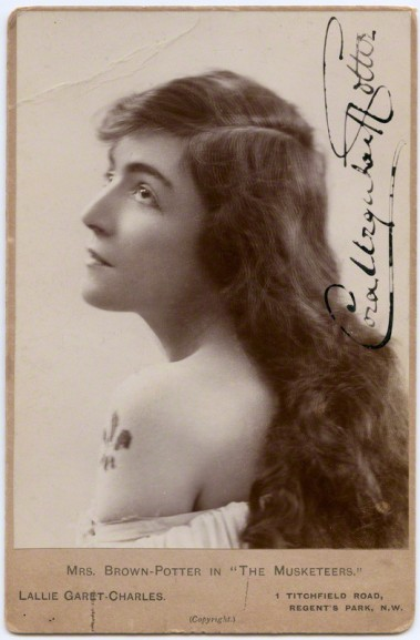 An early portrait by Lallie Charles of Cora Urquhart Brown Potter as Miladi in 'The Musketeers'