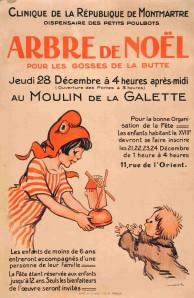 Poster by Poulbot. Christmas at the Moulin de la Galette.