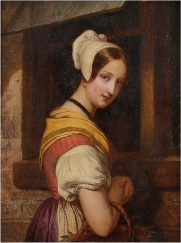 Jean Vallou de Villeneuve Jeune fille au panier. Oil on card