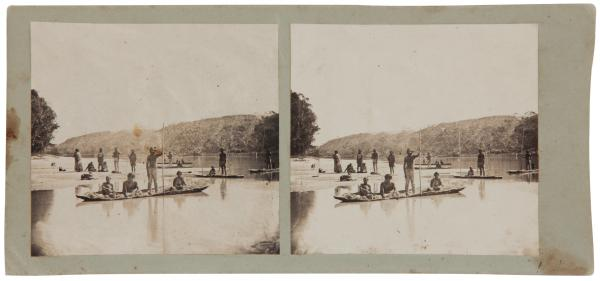 burnell-george-australia-1830-1894-aborigines-in-their-canoes-overland-corner-no-55-from-the-series-stereoscopic-views-of-the-river-murray-1862-murray-river-south-australia