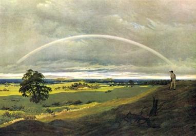 Caspar David Friedrich (1830) Landschaft auf Rügen mit Regenbogen