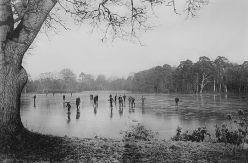 Frank Browne (23rd December 1935) Jesuit novices skating on the lake, Emo Court, County Laois