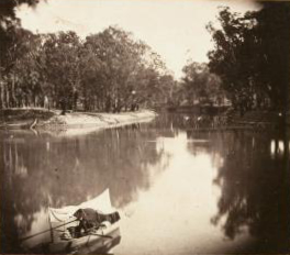 George Bumell (1831-1894) and E. W. Cole (Australia, 1832-1918); Junction of the Murrumbidgee and the Murray (No. 20) from the series Stereoscopic Views of the River Murray, 1862. (albumen-silver stereograph, each approx. 7.5 cm X 7.5 cm, Art Gallery of South Australia, Adelaide.
