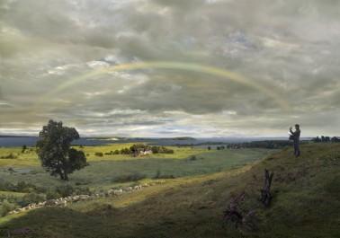 Hiroyuki Masuyama (2016) Landschaft auf Rügen mit Regenbogen, 1830 / 2016 - LED Lightbox / 59x84.5x4cm