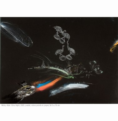 Micky Allan (2005) Emu Night. Pencil and pastel on paper 59.5cm x 84.5cm