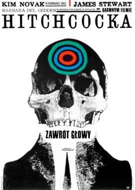 "Roman Cieslewicz - ""ZAWROT GLOWY"" (""Vertigo"", US, Paramount), 1963 (59 x 83.3 cm), color offset Circulation - 8500 Directed by Alfred Hitchcock Starring - Kim Novak, James Stewart, Barbara del Geddes"