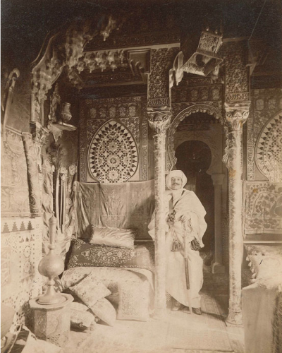 Paul Marsan aka. DORNAC (11 March 1892 ) Pierre LOTI, writer (1850 - 1923) in his lounge. Albumen print mounted on card.