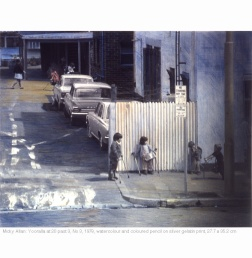 Micky Allan (1978) Yooralla at 20 past 3. No 3. Watercolour and coloured pencil on silver gelatin print. 27.7cm x 35.2cm