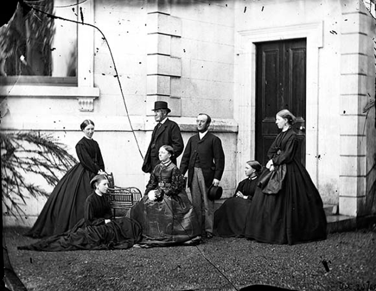dillon-family-group-including-lord-clonbrock-and-lord-and-lady-clanmorris-gathered-outside-clonbrock-house-ahascragh-co-galway-a-fine-early-shot-but-marred-by-the-broken-glassplate-date-20-oct