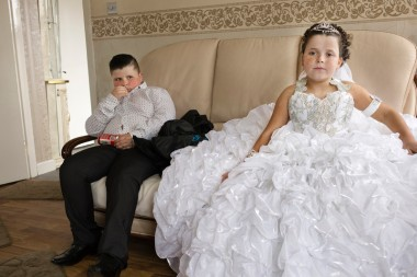 Emily and her brother dressed for the wedding of their sister at the haltingsite, County Offaly Ireland