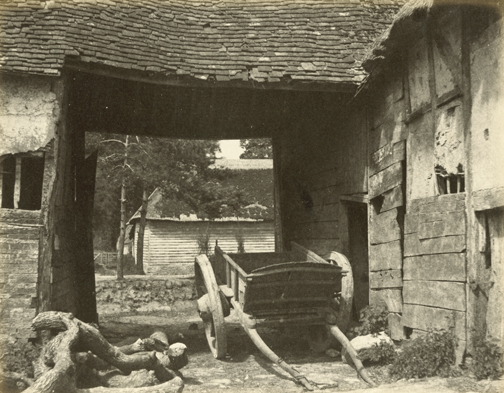 hugh-owen-cart-in-barnyard-albumen-print-1860s-1870s-from-a-paper-negative-before-1855-17-5-x-21-9-cm