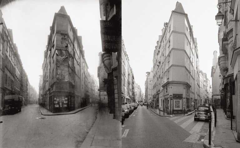 intersection-of-rue-de-seine-and-rue-de-lechaude-circa-1924-by-eugene-atget-left-1997-by-christopher-rauschenberg-right-from-the-new-paperback-edition-of-christopher-rauschenberg