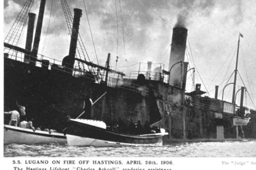 Fred Judge (1906) S.S. Lugano on fire off Hastings, April 26th 1906
