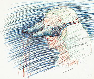 schilling-alfons-title-video-head-set-dating-1973-technology-crayon-on-paper-mass-35-x-43-cm
