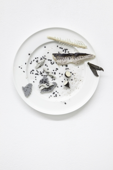 Simon Dybbroe Møller Negative Plate (Mackerel and Rye Bread, b/w) 2014 china plates, polyester resin, polyurethane lacquer, silicone, 31,5 x 31,5 x 4 cm