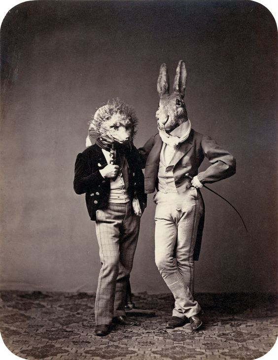 1850s-costume-ball-rabbit-and-wolf-photo-by-franz-hanfstaengl