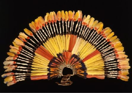 Headdress from the Karajá people of the Rio Araguaya region, north west of Rio de Janeiro. Feathers, plant material