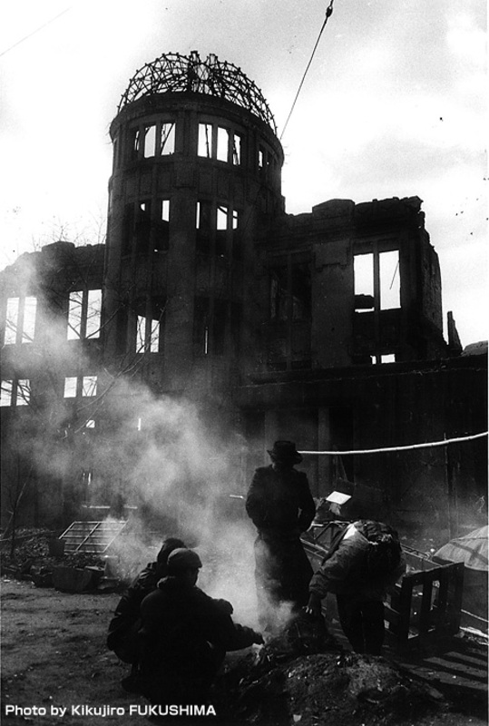 Homeless people in front of the A-Bomb Dome in the late 1940s