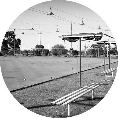 Jane Brown ( 2014/16) Broken Hill Bowling Club, New South Wales, selenium toned, fibre-based gelatin silver print, 18cm diameter