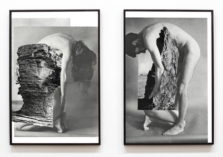 Lillian O'Neil, Standing Stones, 2017, two archival pigment prints on rag on Dibond, framed separately, two parts each- 140 x 93 x 4 cm