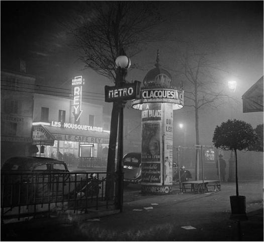 Marcel Bovis (1930s) Metro Gaîté and café Les Mousquetaires avenue du Maine.