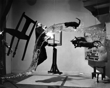 Phillipe Halsman (1948) Dali Atomicus, unretouched original shot, showing the suspension of props on wires and stands, power plug, empty frame, assistant.