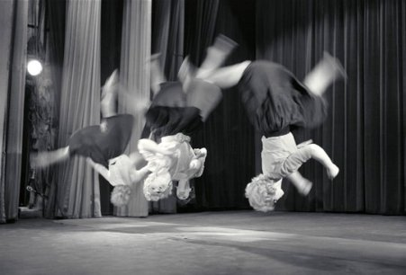 Maria Austria (1959) Dancers somersault in Circus Terlenka performance.