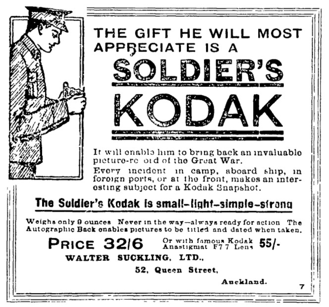Advertisement for Soldier's Kodak camera. Auckland Star, 20 September 1915