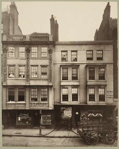 Henry Dixon (before 1880) Old Houses, Aldgate, carbon print, 22.6 x 17.9 cm