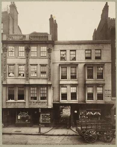 Henry Dixon (before 1880) Old Houses, Aldgate, carbon print, 22.6 x 17.9 cm