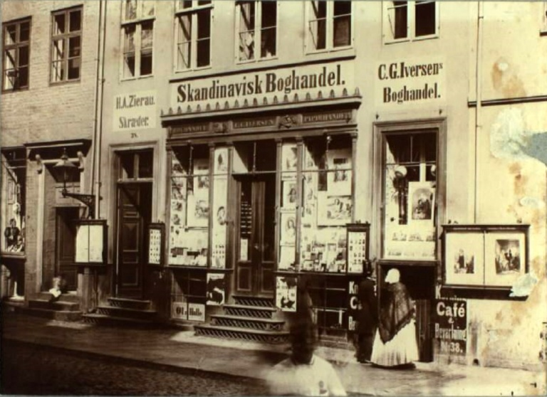 Købmagergade no. 38. Scandinavian Bookstore. Photo V. Tillge : (copy Oluf W. Jørgensen), 1864 KB.