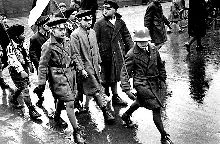 secondary students march on HItler's birthday