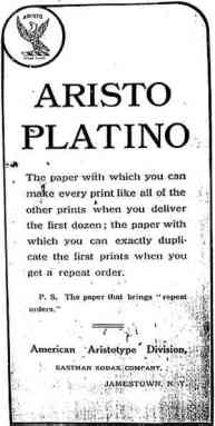Advertising published in Aristo Eagle, 1908.