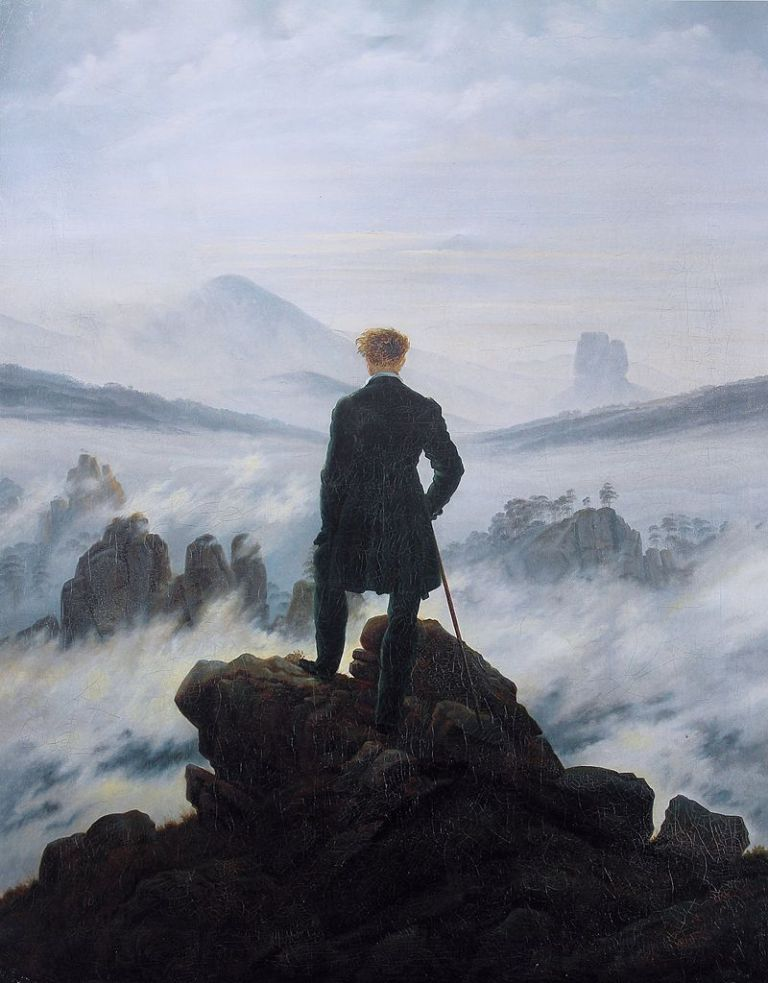 Caspar David Friedrich (1774–1840) Link back to Creator infobox template wikidata-Q104884 q-en-Caspar David Friedrich Title Deutsch- Der Wanderer über dem Nebelmeer