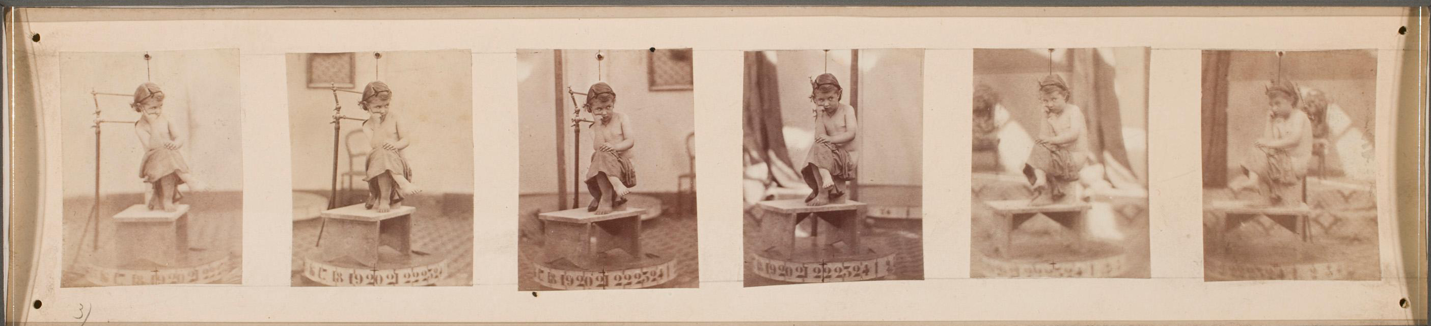 François Willème Study for photosculpture of a seated child 1865 (ca) Albumen prints (x6) 3.5 x 4.5 cm (1 3:8 x 1 3:4 in) (each) George Eastman Museum
