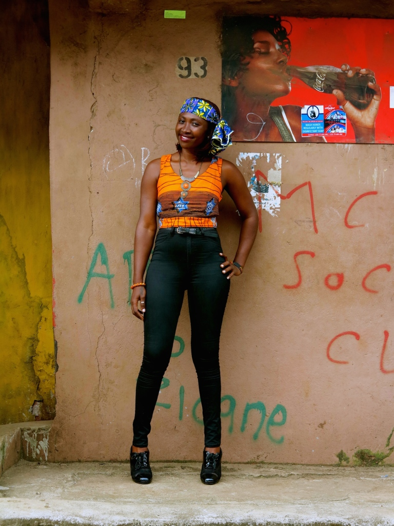 Normally one for a trad Africana frock, Freetown fashion plate Makalay is already for summer loving in this racy look