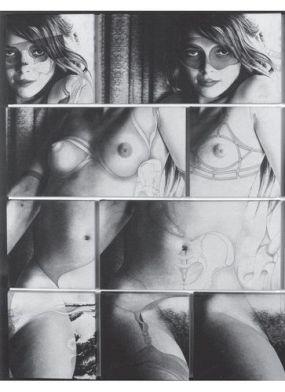 Robert Heinecken Cliché Vary:Fetishism 1974 Photographic emulsion on canvas, pastel chalk