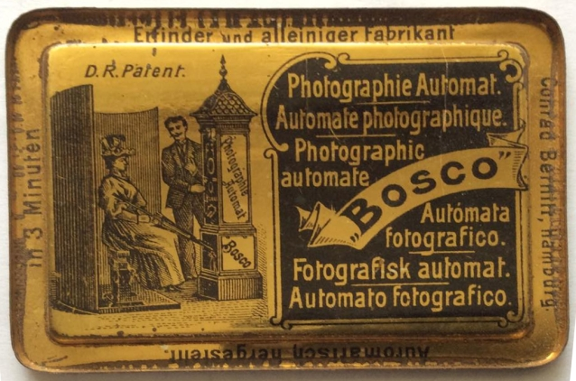 "The first commercially successful automatic photographic apparatus: Conrad Bernitt's ""Bosco"", patented July 16, 1890, Hamburg."