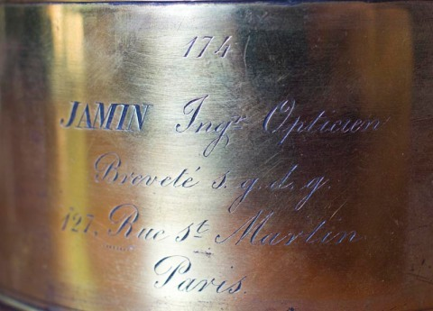 Jamin lens, inscpription on barrel. Photo Paul Ewins
