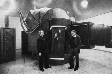 Werner Kraus and Erhard Hößle in front of the original IMAGO camera, 1974