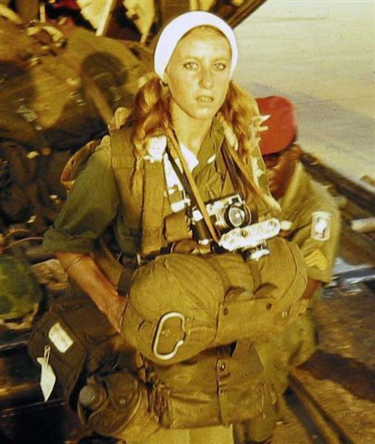 Catherine Leroy preparing to jump with the 173rd Airborne Brigade during Operation Junction City