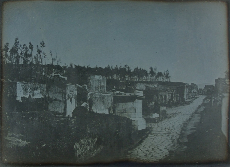 Alexander John Ellis Pompeii, The West side of the Street of Tombs with the remains of the Ancient Inn 1841, 22 April Daguerreotype National Science and Media Museum